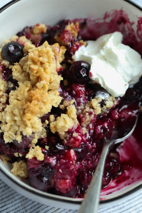 Blueberry Crisp with a scoop of ice cream