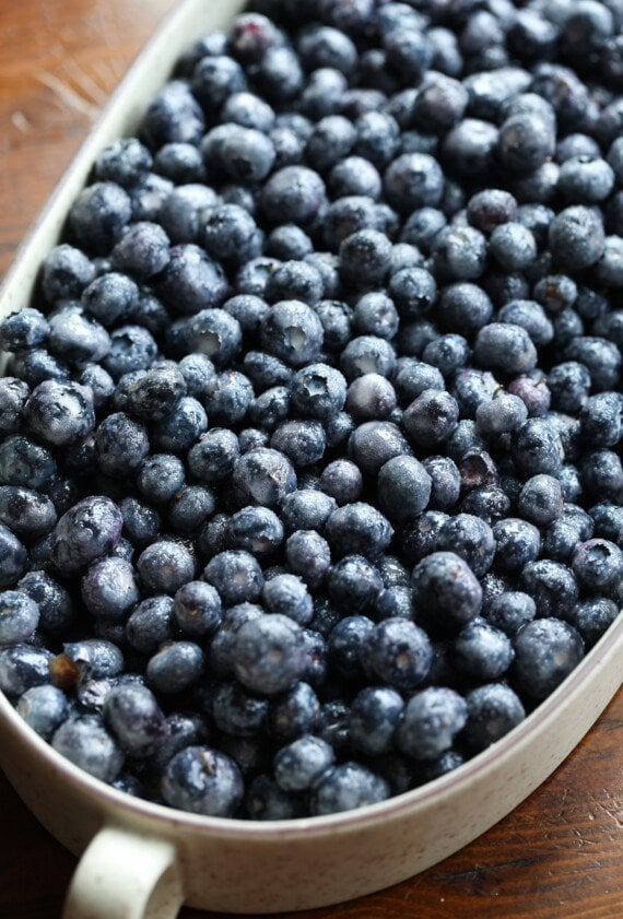 fresh blueberries in a baking dish