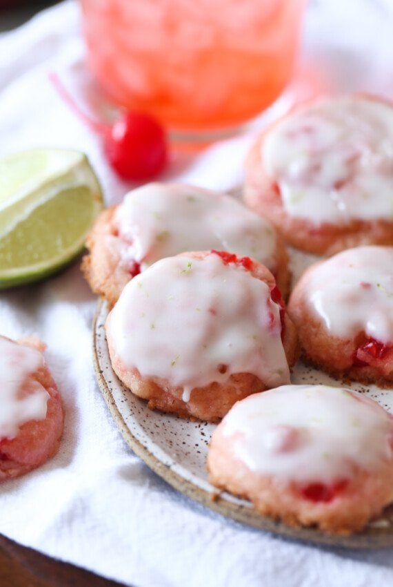 cherry cookies topped with lime glaze