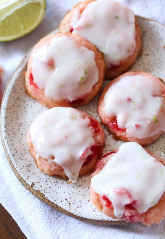 Cherry Limeade Cookies cookies on a plate
