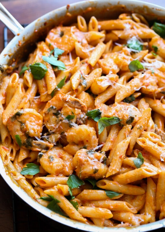 Penne pasta tossed in a creamy tomato sauce with shrimp