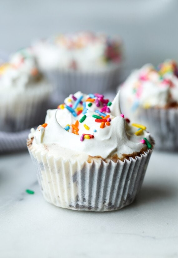 no bake cupcake made with vanilla ice cream in a liner