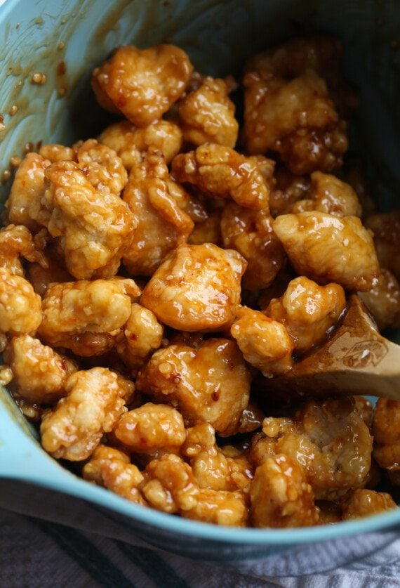 Chicken coated in sweet and spicy orange sauce.