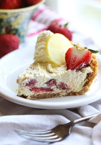 Slice of No Bake Strawberry Lemon Icebox Pie on a plate