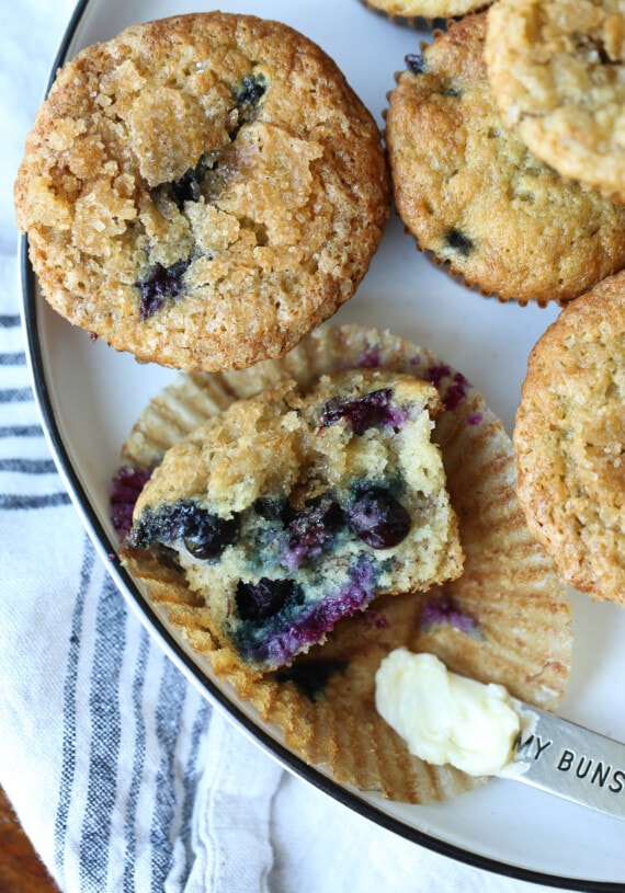 Banana blueberry muffins on a plate.