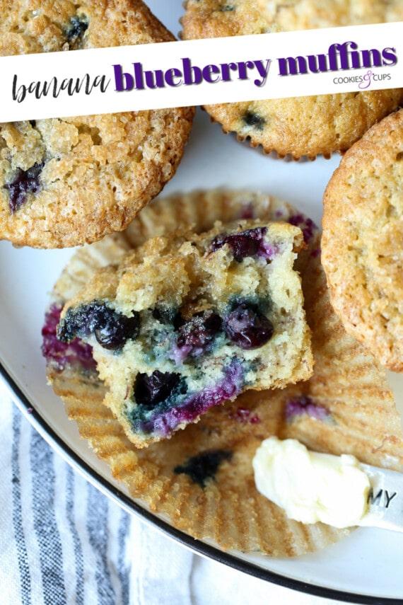 Pinterest image for banana blueberry muffins.