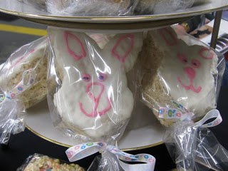 Two Bunny Head Rice Krispie Treats on a Layered Dessert Stand