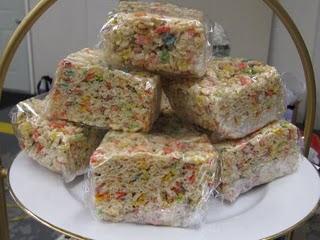 A Plate of Jumbo Plastic-Wrapped Rice Krispie Treats