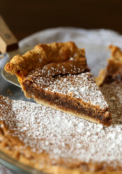Chess Pie being served dusted in powdered sugar