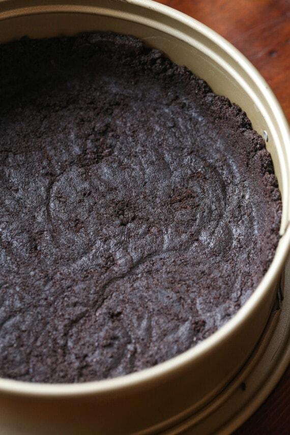 An Oreo cheesecake crust in a springform pan.