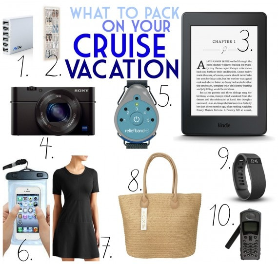 A numbered list of pictured items including a kindle and a camera