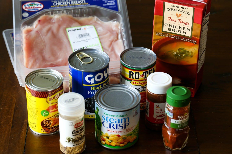 Ingredients for chicken enchilada soup recipe