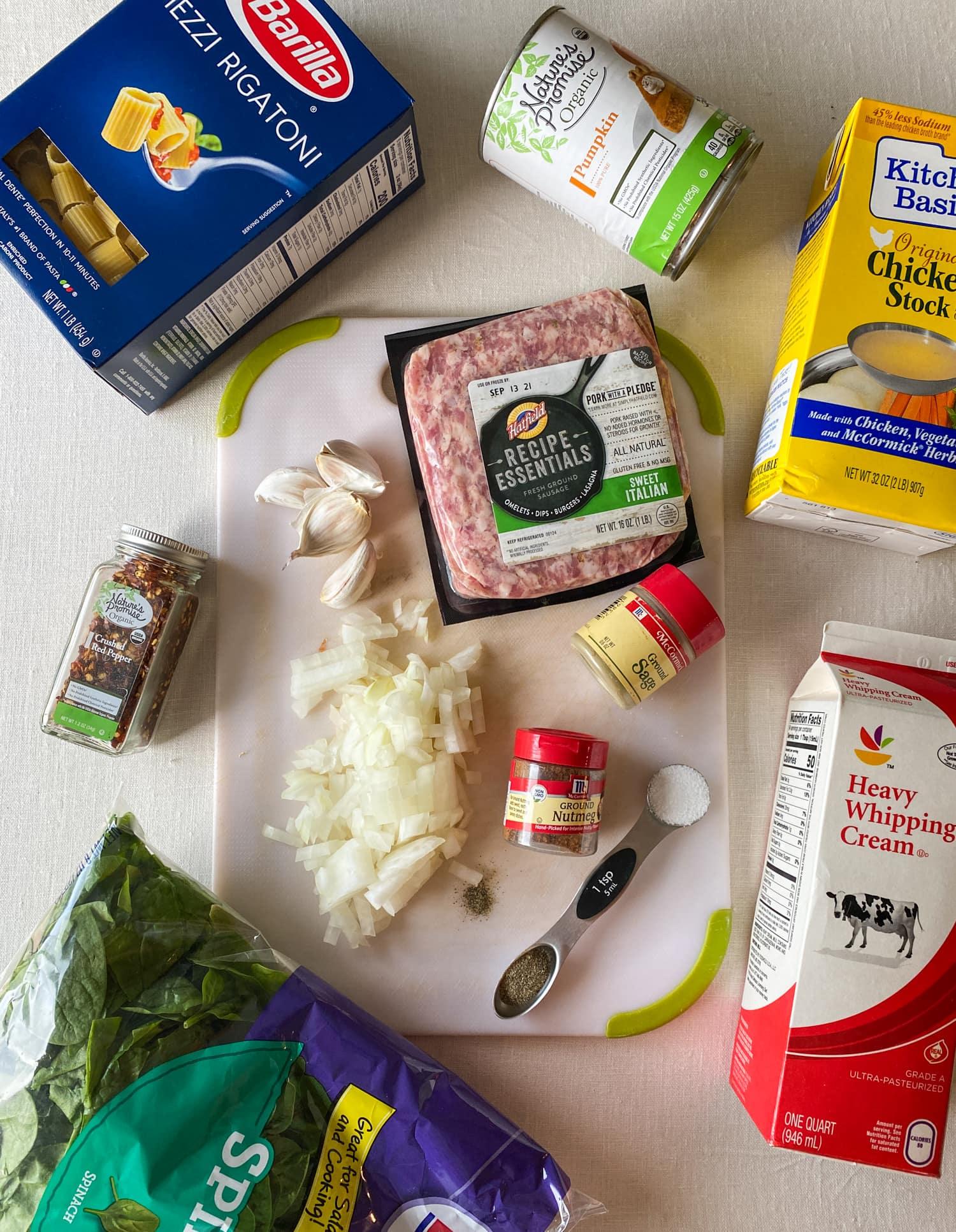 Ingredients for pumpkin sausage pasta.