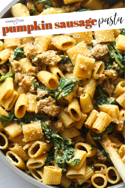 Pinterest image for pumpkin sausage pasta.