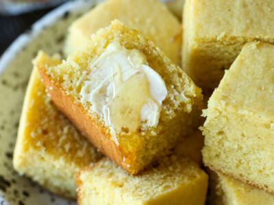 Cornbread with butter and honey.