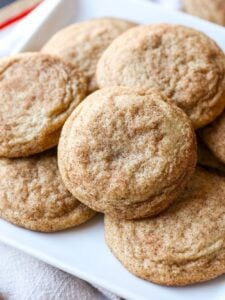 My BEST most PERFECT Snickerdoodles cookie recipe ever! Super soft and buttery, loaded with cinnamon and sugar. Plus, there's no chilling the dough necessary, so they can be made QUICK!